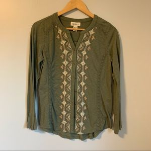 Style & Co. Olive green embroidered boho blouse M